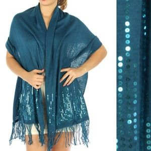 Sequin Sweater Knit Evening Wrap Shawl Scarf Teal